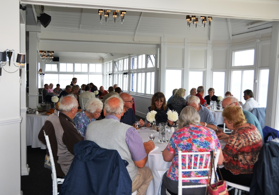 NPS members enjoying a barbecue lunch and cream tea in the impressive surroundings of the newly-refurbished Ocean Suite at Eastbourne Pier.