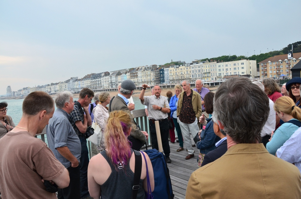 Steve Peak points of some Hastings Pier's new attractions to NPS members.